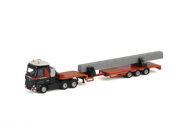 MAMMOET TOYS MB ACTROS BIGSPACE 6X4 SEMI LOW LOADER 3 AXLE + 2 BEAMS