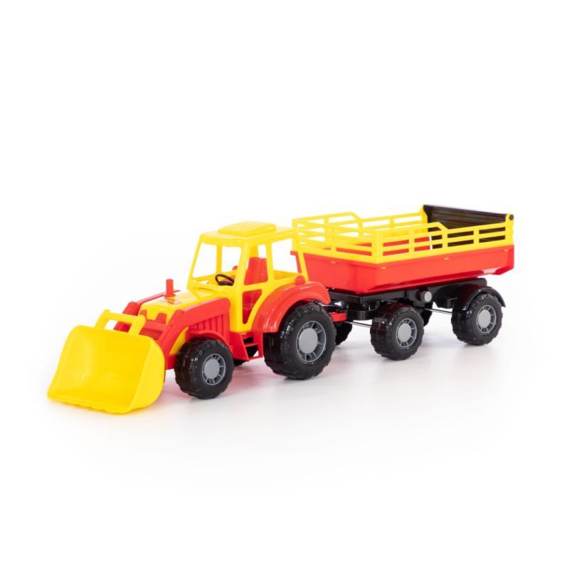 polesiede  harzland traktor mit schaufel und 2achsanhänger