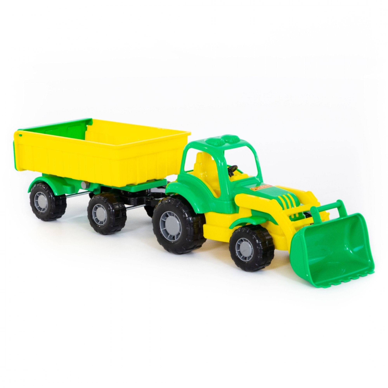 polesiede  country traktor mit schaufel und anhänger